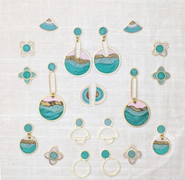 A collection of ready to ship earrings in the Agate Colorway