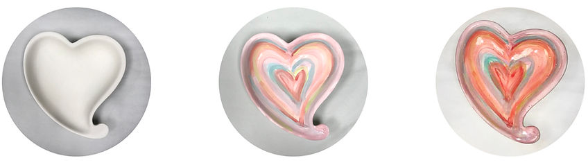 Painted & fired heart dishes