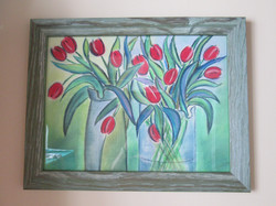 Tulips with pastels