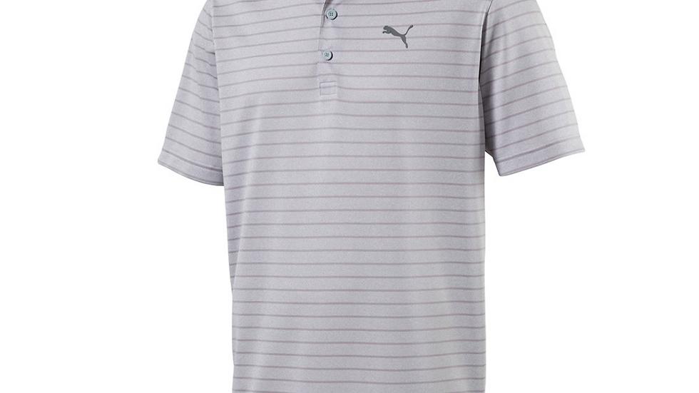 Custom Embroidered Logo Puma Rotation Stripe Polo- Quarry Grey