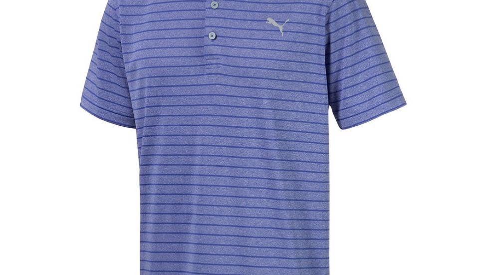 Custom Embroidered LogoPumaRotation Stripe Polo- Dazzling Blue