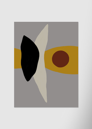 Абстракция с темно-красным кругом