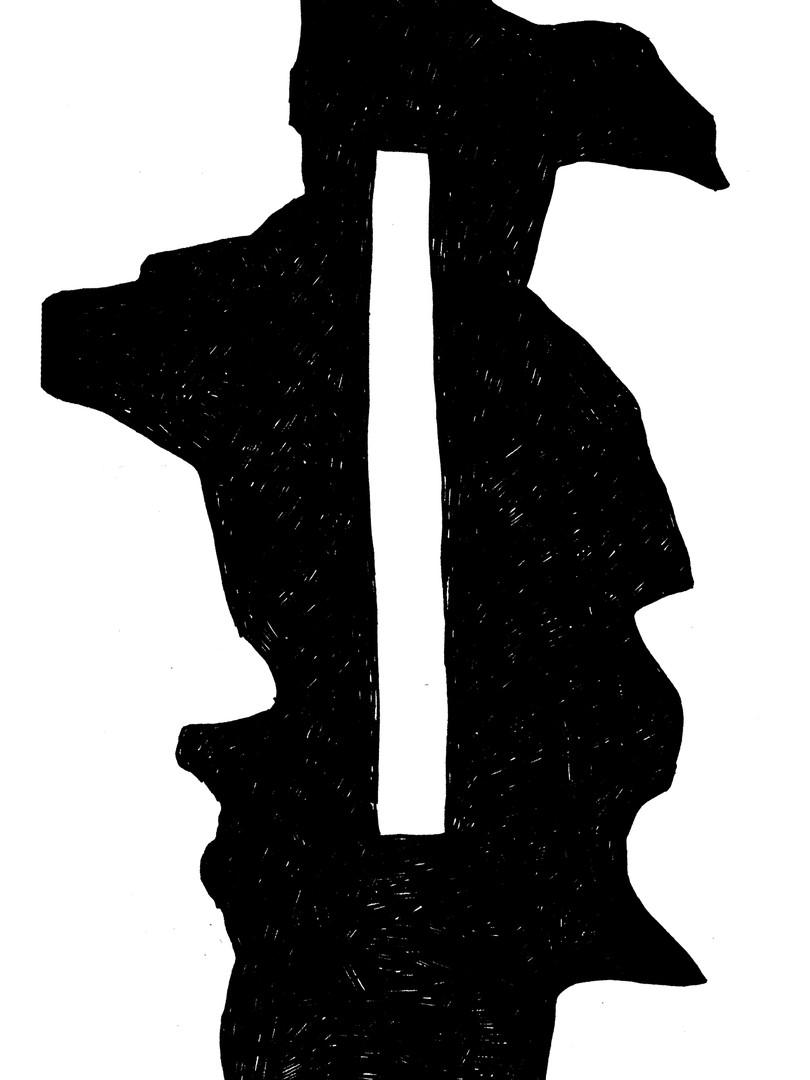 Черная абстракция с прямоугольным отверстием
