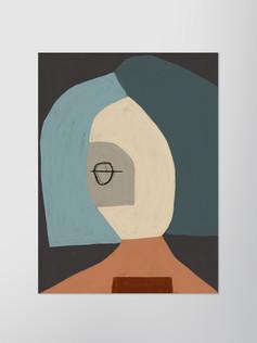 Портрет с серо-голубым каре