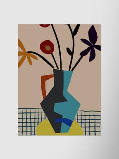 Голубая ваза с цветами