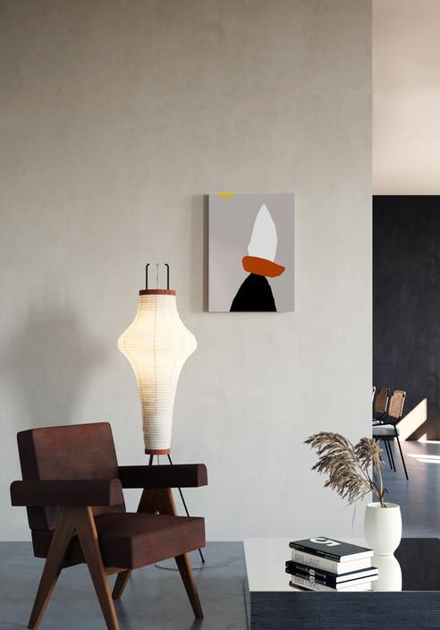 Абстракция с красным акцентом и желтым нюансом-интерьер-Ольга Фрадина