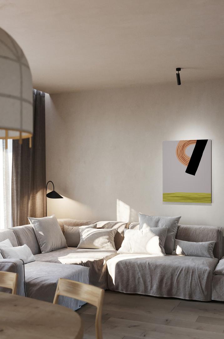 Абстракция со штриховкой №3-интерьер-Ольга Фрадина