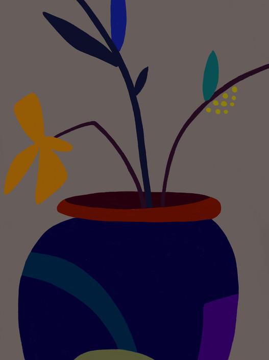 Синяя ваза с желтым цветком