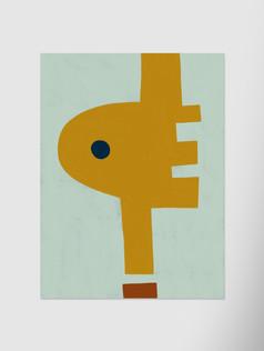 Желтая-абстракция-с-черной-точкой