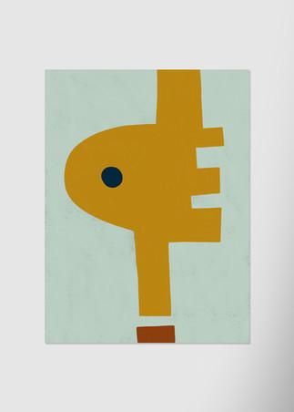 Желтая абстракция с черной точкой