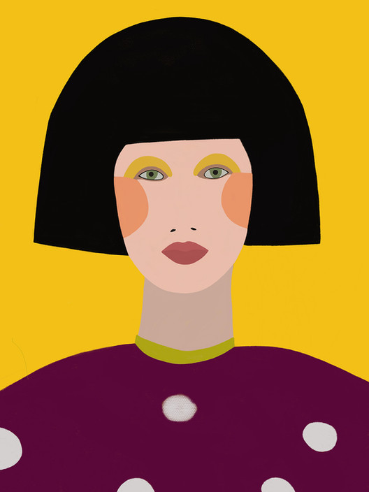 Портрет на темно-желтом фоне