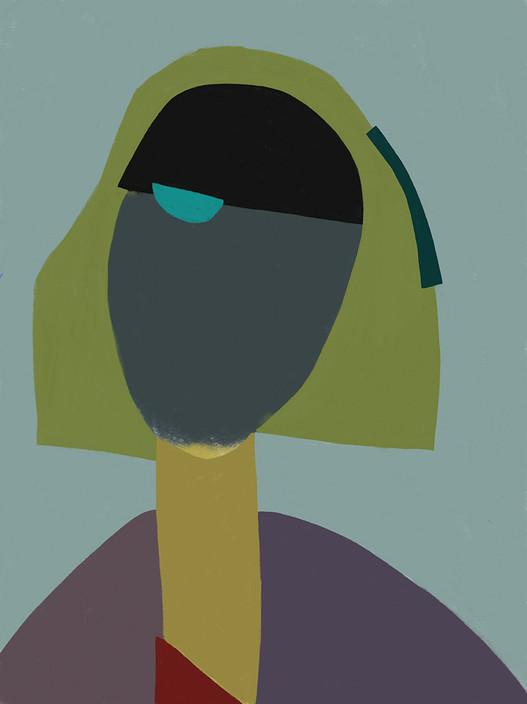 Внимательный портрет на темно-голубом