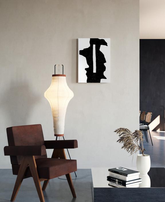 Черная абстракция с прямоугольным отверстием-интерьер-Ольга Фрадина