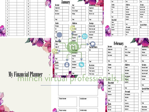 Purple Floral Financial Planner