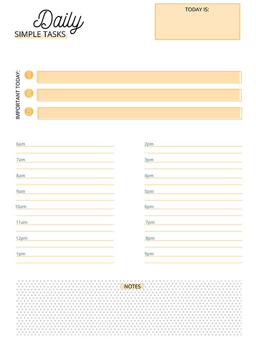 Daily Simple Tasks- Orange