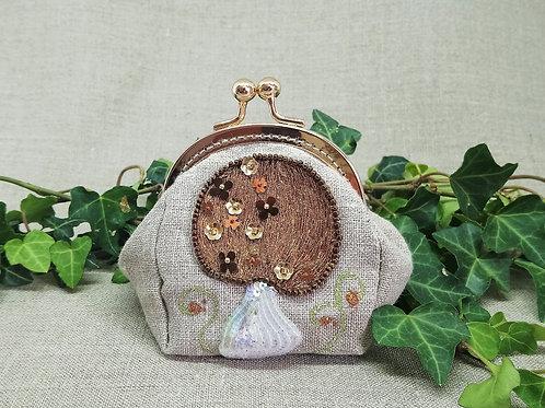 Porte monnaie champignon brun