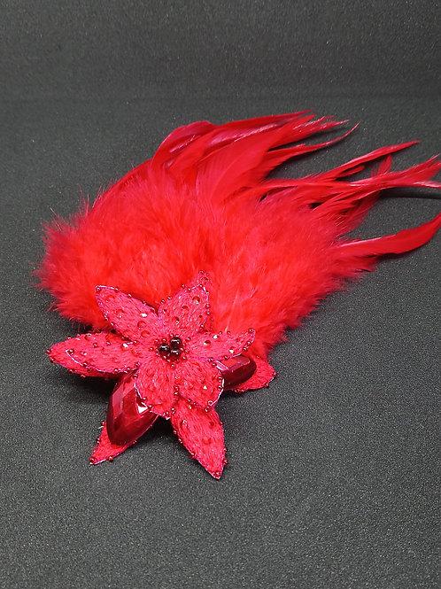 Bijou de cheveux fleur rouge à plumes