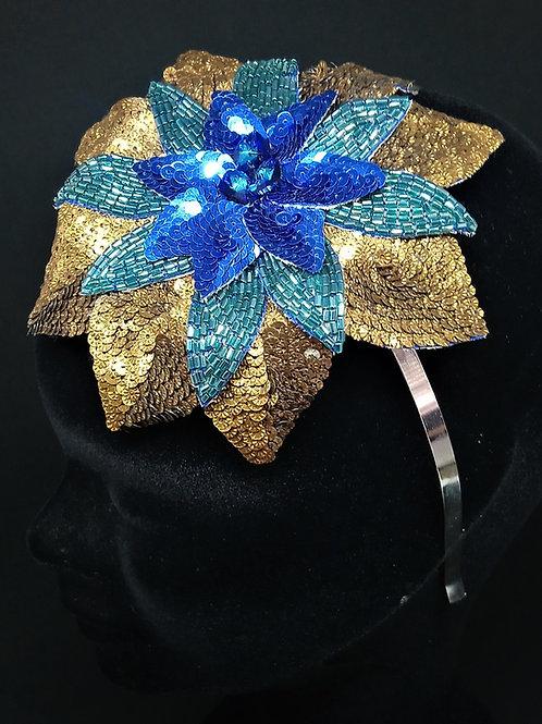Bijou de tête fleur couleur paon