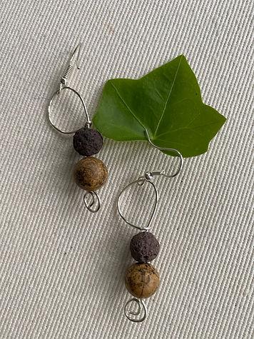 Jasper & Lava bead in silver