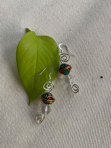 Tibetan Stone & quartz earrings