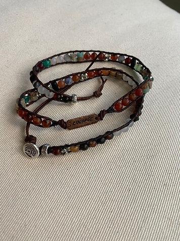Triple wrap 'Courage' bracelet