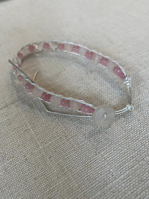 Rose quartz leather wrap bracelet ( round button)