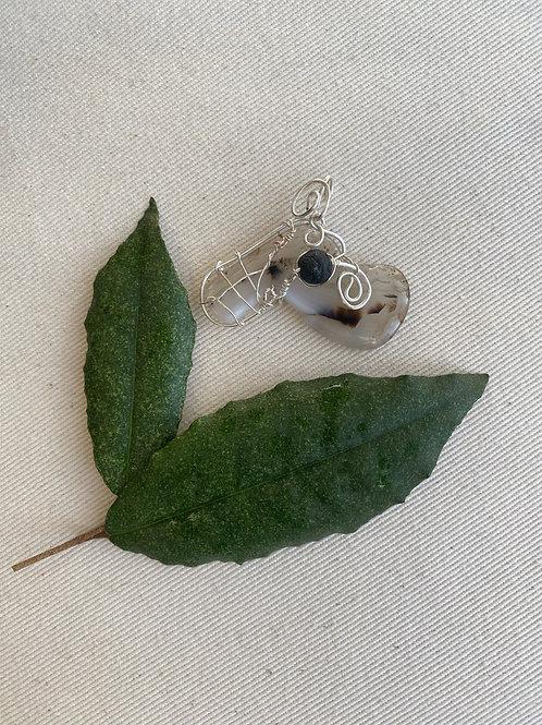 Pendant - Montana Agate with lava stone