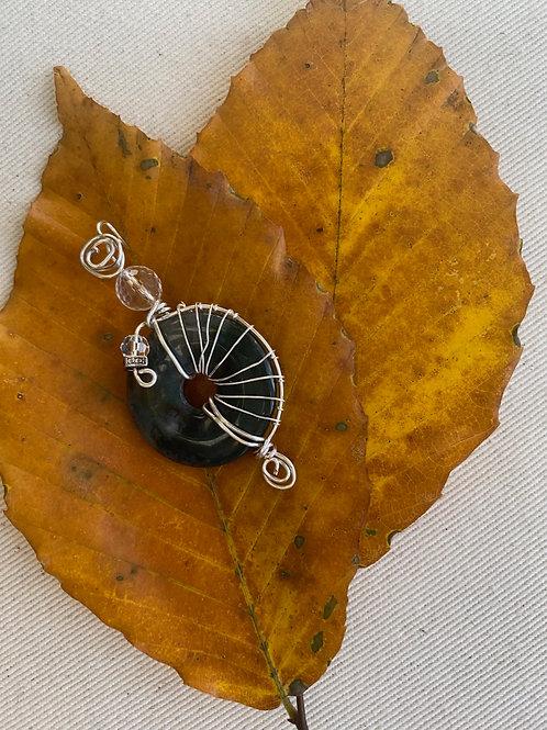 Pendant -Jasper wheel w/quartz jewel
