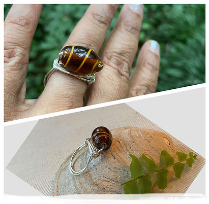 Wire wrapped glass stone ring