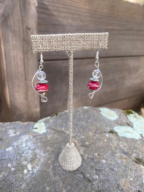 Red glass beads & quartz