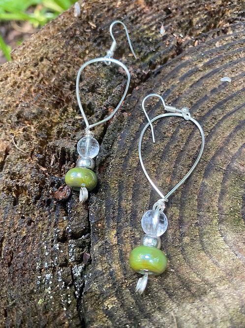 Green tear drop earrings