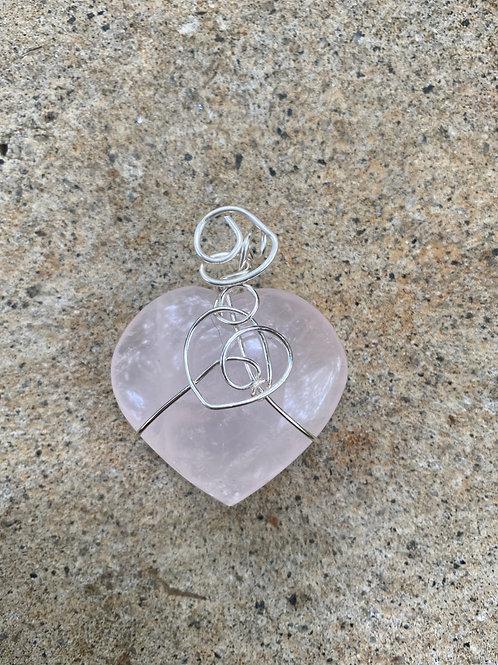 3 Hearts- rose quartz pendant