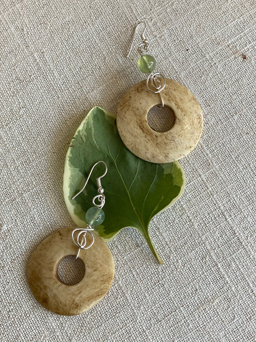 Bone & adventurine earrings