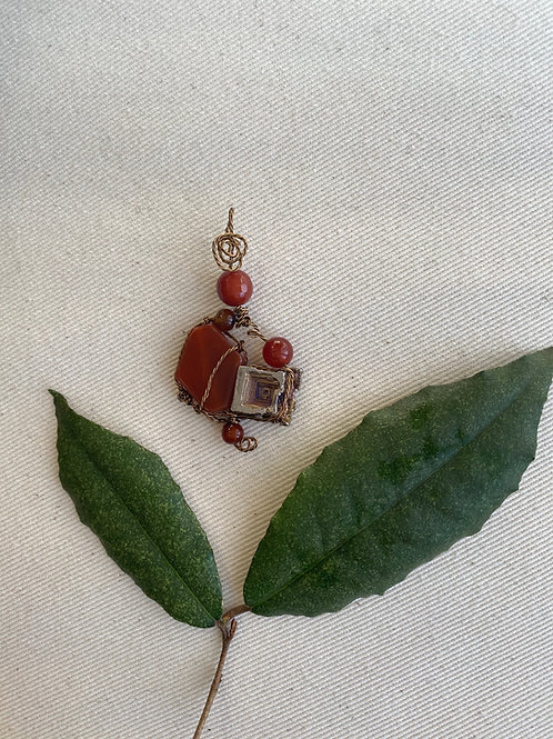 Pendant - Bismuth with carnelian (brown wire)