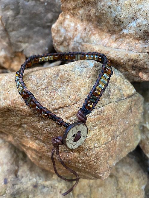 Single wrap glass bead bracelet