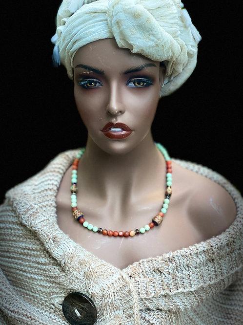 Turquoise and jasper & earring set
