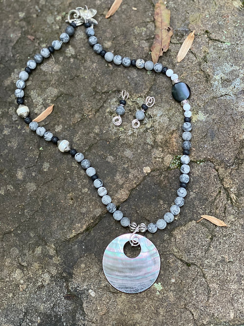 Shades of Grey necklace and earring set
