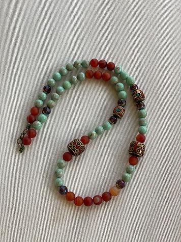 Turquoise & red jasper w/tibetan jewels