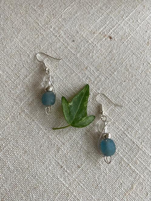 Blue glass & quartz earrings