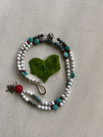 Howlite & Turquoise w/red bead accents.