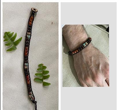 Single wrap Jasper/agate/coconut wood