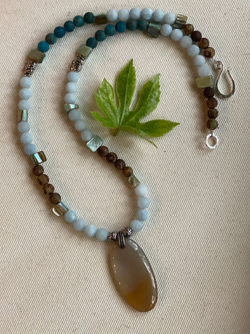 Blue Jade beads with Agate & Shell