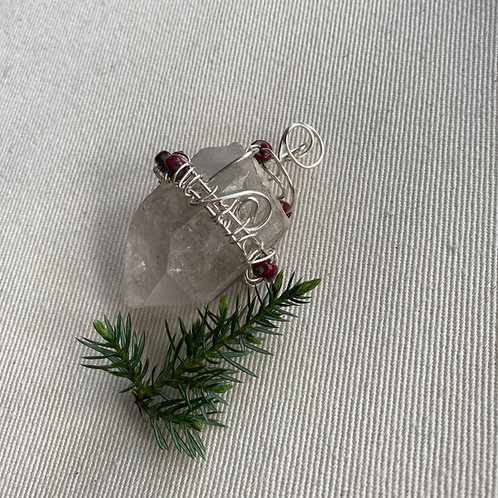 Raw Large Quartz with red jewels