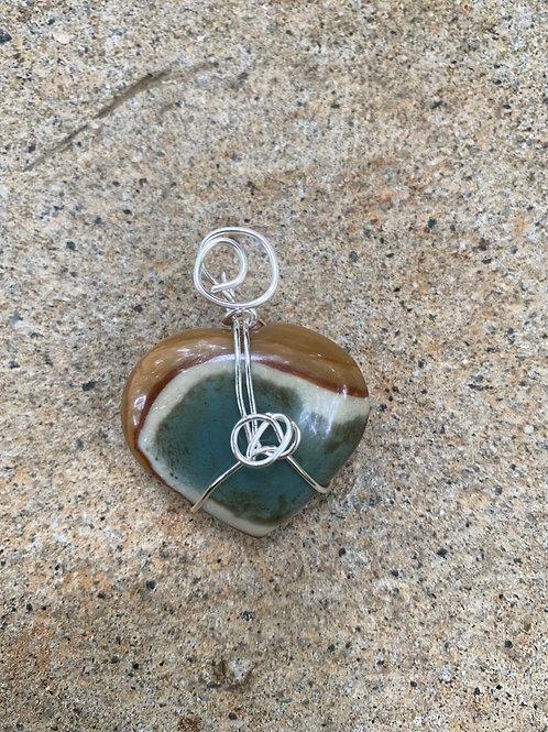 Mookaite Jasper heart pendant