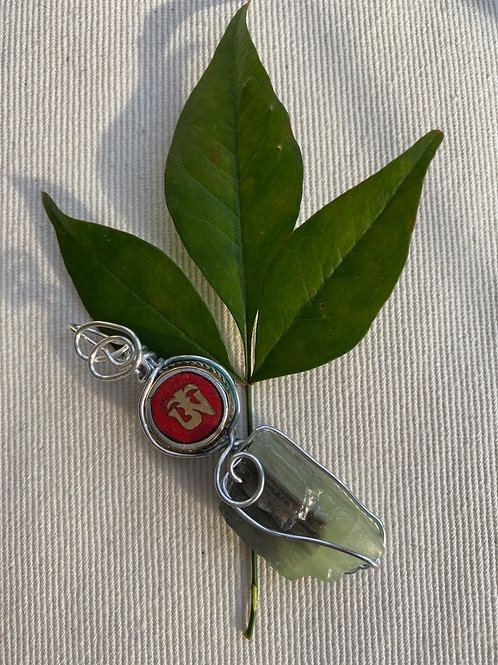 Pendant -Raw Flourite with Tibetan OM jewel