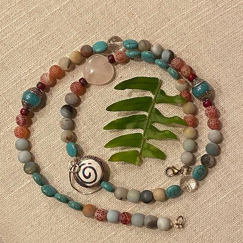 Amazonite w/rose quartz heart & tibetan jewels