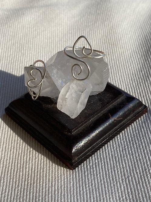Silver heart shape toe ring
