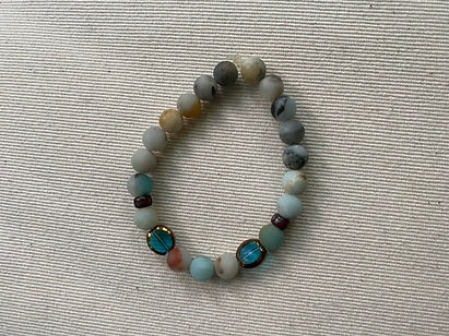 Amazonite and & blue glass bracelet