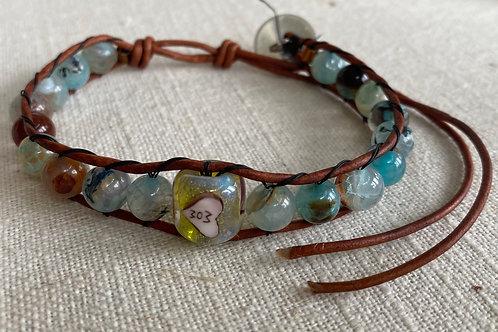 MOM agate blue wrap bracelet
