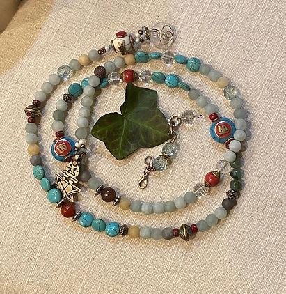 Amazonite necklace w/tibetan jewels & coptic cross